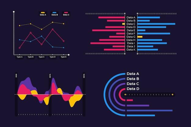 Набор элементов инфографики на приборной панели