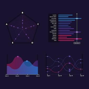 インフォグラフィックダッシュボード要素のコレクション