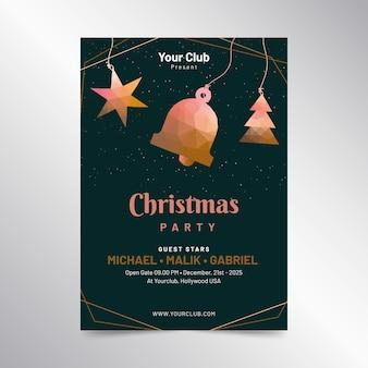 Рождественский постер в полигональном стиле шаблона