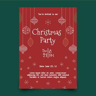 アウトラインスタイルのクリスマスパーティーのフライヤーテンプレート