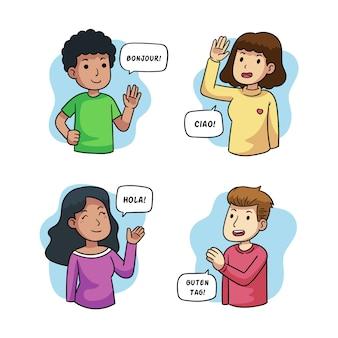 異なる言語のイラストで話している若者