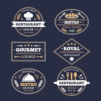 Ресторан старинный логотип набор