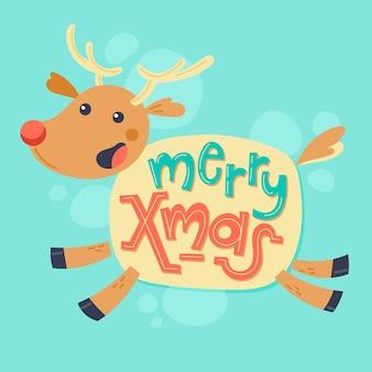 レタリングとクリスマスのトナカイのキャラクター