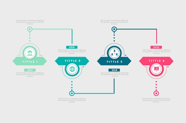 フラットなデザインタイムラインテンプレートインフォグラフィック