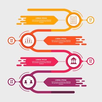 フラットなデザインテンプレートタイムラインインフォグラフィック