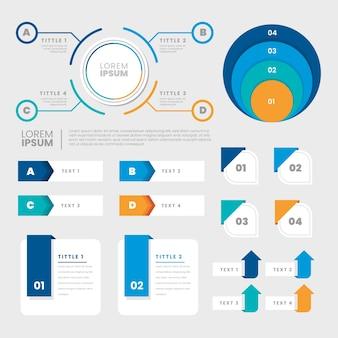 フラットなデザインのインフォグラフィック要素セット