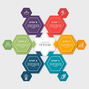 Плоский дизайн инфографики шаги шаблона