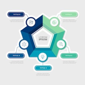 Плоский дизайн шаблона инфографики шаги