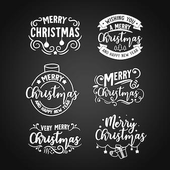 黒板にクリスマスラベルを設定