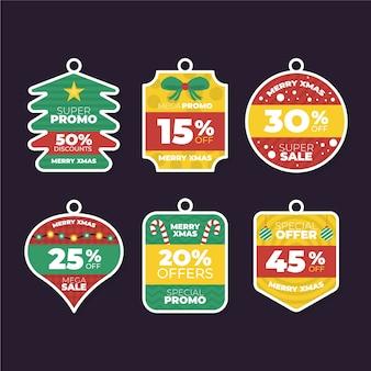 フラットなデザインのクリスマスセールタグイラストパック