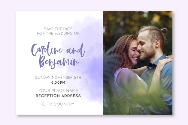 写真の素敵な結婚式の招待状のテンプレート