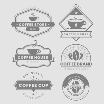 Кофейня винтажный логотип набор