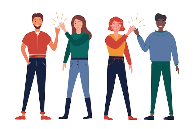 Молодые люди, дающие высокие пять групп
