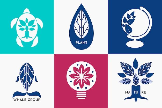 レトロなスタイルで設定されたカラフルな最小限のロゴ