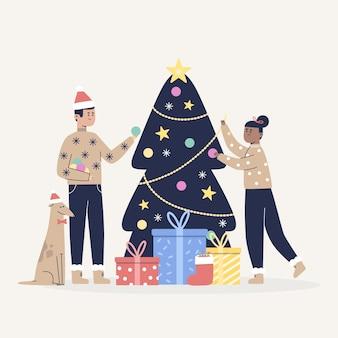 フラットなデザインのクリスマス家族シーンコンセプト