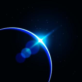 青い地球の日の出の光の効果