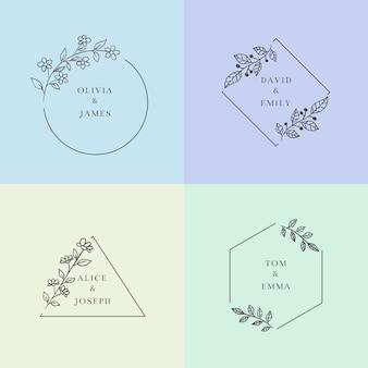 パステルカラーのシンプルなウェディングモノグラム