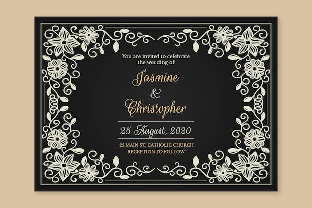結婚式の招待状のレトロなテンプレート
