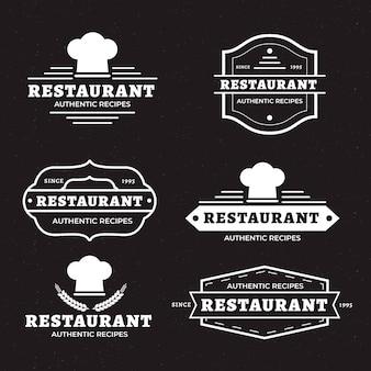 Ресторан ретро логотип набор