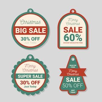 フラットデザインのクリスマスセールタグパック