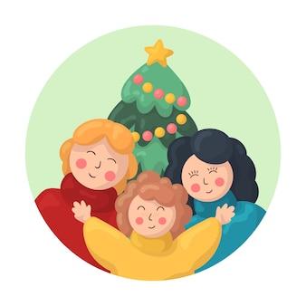 手描きのクリスマス家族シーンコンセプト