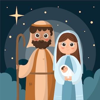 手描きのキリスト降誕のシーンイラスト