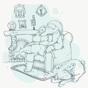 Нарисованная рукой сцена рождественского камина