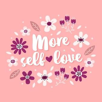 花と自己愛をレタリング
