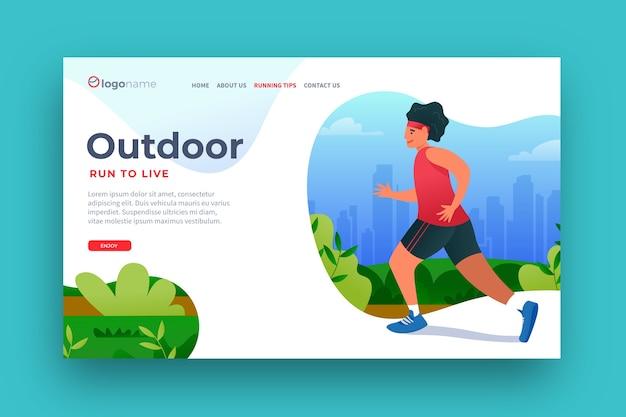 Плоский дизайн шаблона спортивной целевой страницы на открытом воздухе