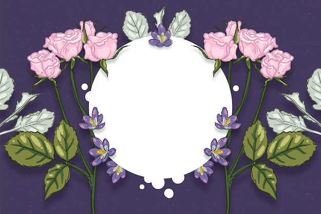Зимние цветы фон с пустым значком