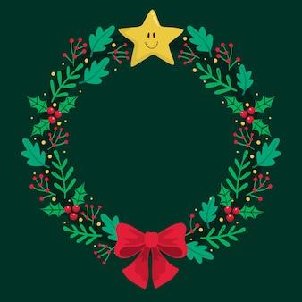 フラットなデザインのクリスマスリースのコンセプト