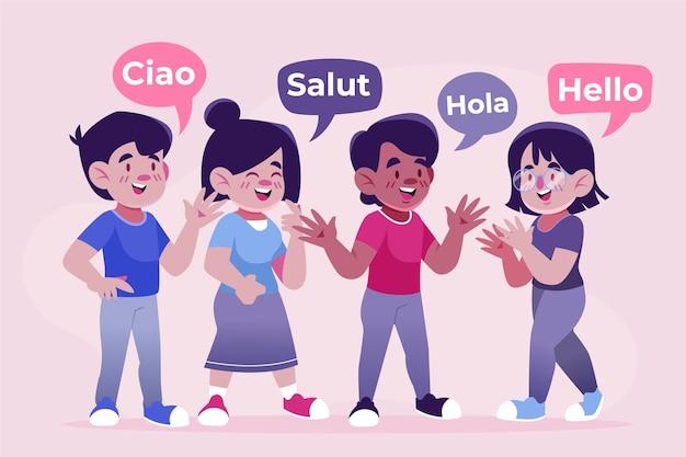 異なる言語のイラストコレクションで話している若者