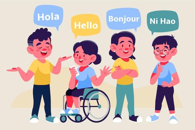 異なる言語のイラストセットで話している若者