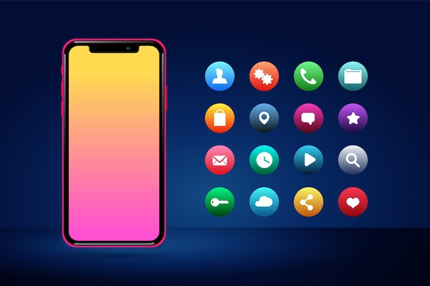 Реалистичный фронтальный смартфон с приложениями