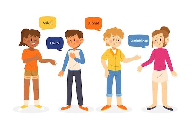 異なる言語のイラストグループで話している若者