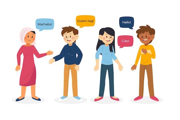 異なる言語のコレクションで話している若者のイラスト
