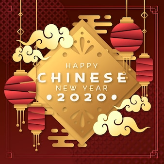 Китайский новый год концепция в стиле бумаги