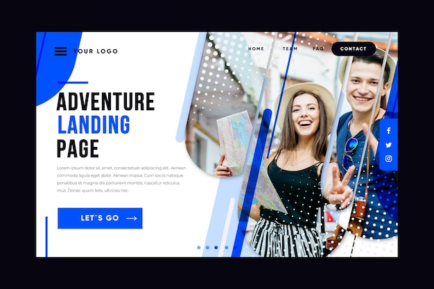 Шаблон целевой страницы путешествия с фотографией