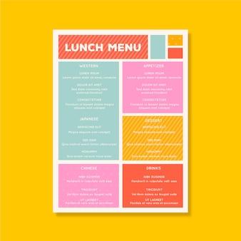 Красочный шаблон меню ресторана