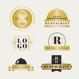 レトロな黄金のレストランのロゴのコレクション
