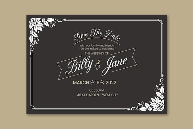 テンプレートレトロな結婚式の招待状