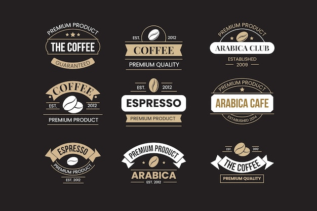 レトロなコーヒーショップのロゴセット