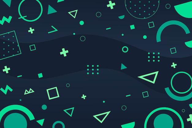 平らな緑の幾何学的図形の背景
