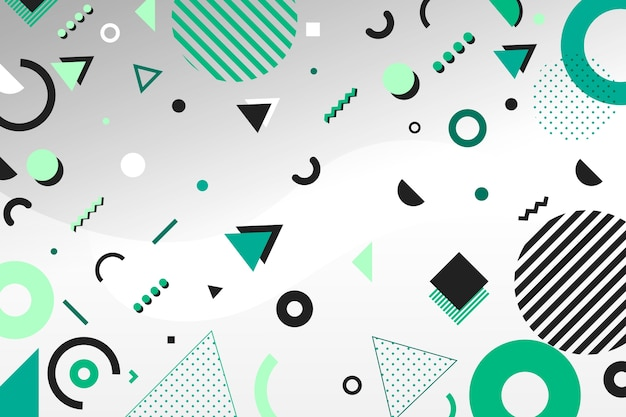 平らな緑の幾何学的なモデルの背景