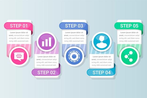 Текстовые поля и плоский дизайн инфографики с шагами и параметрами
