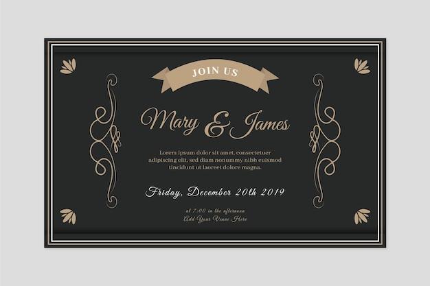 黒の色調でレトロな結婚式の招待状