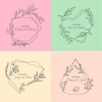 Минималистские свадебные монограммы в пастельных тонах