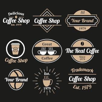 Ресторан кофе коллекция старинных логотипов