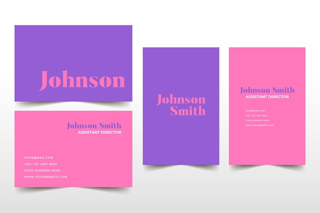 Розовые и фиолетовые тона шаблона визитной карточки