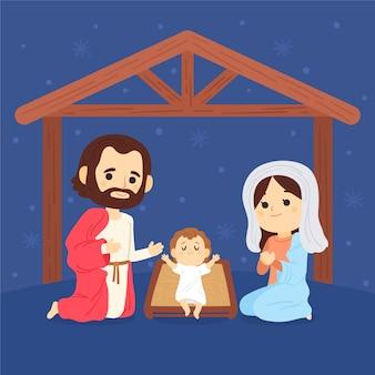 Нарисованная рукой иллюстрация сцены рождества